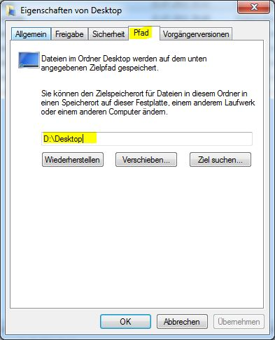 Windows 7 - Systemorder - Pfad anpassen